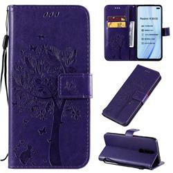 Embossing Butterfly Tree Leather Wallet Case for Xiaomi Redmi K30 - Purple