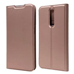 Ultra Slim Card Magnetic Automatic Suction Leather Wallet Case for Xiaomi Redmi K30 - Rose Gold
