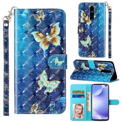Rankine Butterfly 3D Leather Phone Holster Wallet Case for Xiaomi Redmi K30