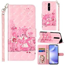 Pink Bear 3D Leather Phone Holster Wallet Case for Xiaomi Redmi K30