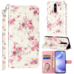 Rambler Rose Flower 3D Leather Phone Holster Wallet Case for Xiaomi Redmi K30
