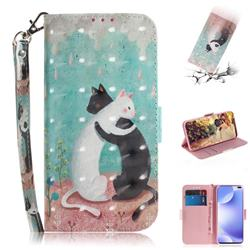 Black and White Cat 3D Painted Leather Wallet Phone Case for Xiaomi Redmi K30