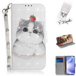 Cute Tomato Cat 3D Painted Leather Wallet Phone Case for Xiaomi Redmi K30