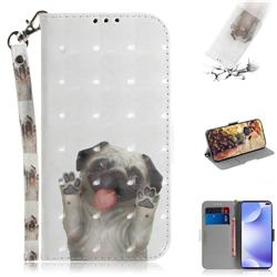 Pug Dog 3D Painted Leather Wallet Phone Case for Xiaomi Redmi K30