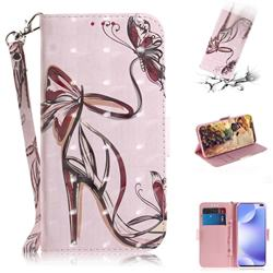 Butterfly High Heels 3D Painted Leather Wallet Phone Case for Xiaomi Redmi K30
