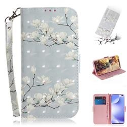 Magnolia Flower 3D Painted Leather Wallet Phone Case for Xiaomi Redmi K30