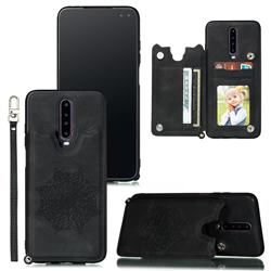 Luxury Mandala Multi-function Magnetic Card Slots Stand Leather Back Cover for Xiaomi Redmi K30 - Black