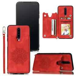 Luxury Mandala Multi-function Magnetic Card Slots Stand Leather Back Cover for Xiaomi Redmi K30 - Red