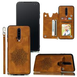 Luxury Mandala Multi-function Magnetic Card Slots Stand Leather Back Cover for Xiaomi Redmi K30 - Brown