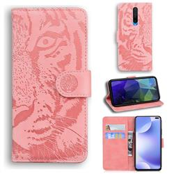 Intricate Embossing Tiger Face Leather Wallet Case for Xiaomi Redmi K30 - Pink