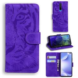 Intricate Embossing Tiger Face Leather Wallet Case for Xiaomi Redmi K30 - Purple
