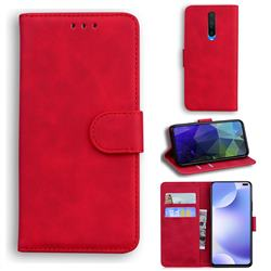 Retro Classic Skin Feel Leather Wallet Phone Case for Xiaomi Redmi K30 - Red