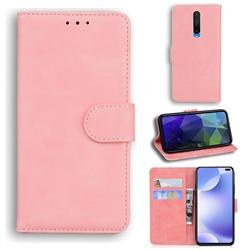 Retro Classic Skin Feel Leather Wallet Phone Case for Xiaomi Redmi K30 - Pink