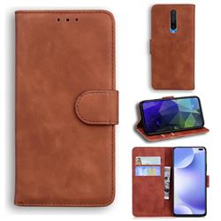 Retro Classic Skin Feel Leather Wallet Phone Case for Xiaomi Redmi K30 - Brown