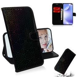 Laser Circle Shining Leather Wallet Phone Case for Xiaomi Redmi K30 - Black