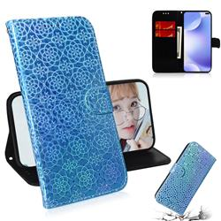 Laser Circle Shining Leather Wallet Phone Case for Xiaomi Redmi K30 - Blue