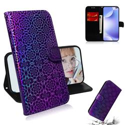 Laser Circle Shining Leather Wallet Phone Case for Xiaomi Redmi K30 - Purple