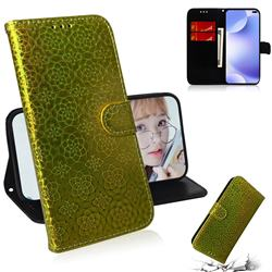 Laser Circle Shining Leather Wallet Phone Case for Xiaomi Redmi K30 - Golden