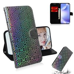 Laser Circle Shining Leather Wallet Phone Case for Xiaomi Redmi K30 - Silver