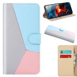 Tricolour Stitching Wallet Flip Cover for Xiaomi Redmi K30 - Gray
