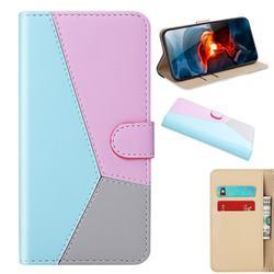 Tricolour Stitching Wallet Flip Cover for Xiaomi Redmi K30 - Blue