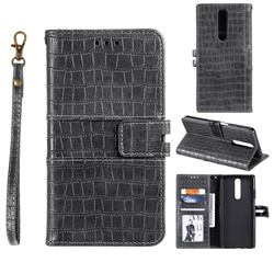 Luxury Crocodile Magnetic Leather Wallet Phone Case for Xiaomi Redmi K30 - Gray