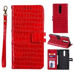 Luxury Crocodile Magnetic Leather Wallet Phone Case for Xiaomi Redmi K30 - Red