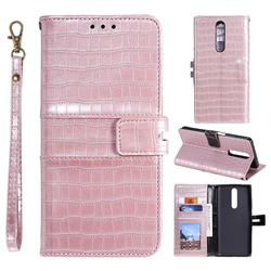 Luxury Crocodile Magnetic Leather Wallet Phone Case for Xiaomi Redmi K30 - Rose Gold