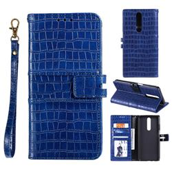 Luxury Crocodile Magnetic Leather Wallet Phone Case for Xiaomi Redmi K30 - Blue