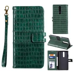 Luxury Crocodile Magnetic Leather Wallet Phone Case for Xiaomi Redmi K30 - Green
