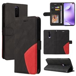 Luxury Two-color Stitching Leather Wallet Case Cover for Xiaomi Redmi K30 - Black