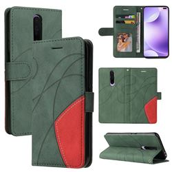 Luxury Two-color Stitching Leather Wallet Case Cover for Xiaomi Redmi K30 - Green