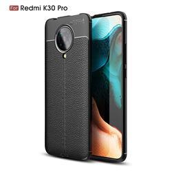 Luxury Auto Focus Litchi Texture Silicone TPU Back Cover for Xiaomi Redmi K30 Pro - Black