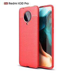 Luxury Auto Focus Litchi Texture Silicone TPU Back Cover for Xiaomi Redmi K30 Pro - Red