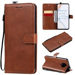 Retro Greek Classic Smooth PU Leather Wallet Phone Case for Xiaomi Redmi K30 Pro - Brown