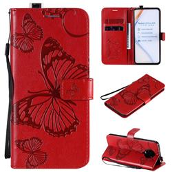 Embossing 3D Butterfly Leather Wallet Case for Xiaomi Redmi K30 Pro - Red