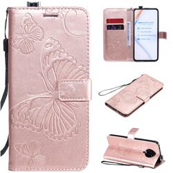 Embossing 3D Butterfly Leather Wallet Case for Xiaomi Redmi K30 Pro - Rose Gold