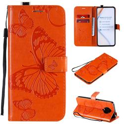 Embossing 3D Butterfly Leather Wallet Case for Xiaomi Redmi K30 Pro - Orange