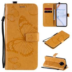 Embossing 3D Butterfly Leather Wallet Case for Xiaomi Redmi K30 Pro - Yellow