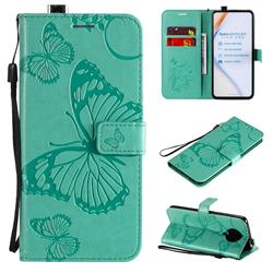 Embossing 3D Butterfly Leather Wallet Case for Xiaomi Redmi K30 Pro - Green