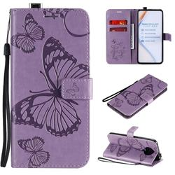 Embossing 3D Butterfly Leather Wallet Case for Xiaomi Redmi K30 Pro - Purple