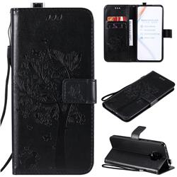 Embossing Butterfly Tree Leather Wallet Case for Xiaomi Redmi K30 Pro - Black