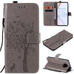 Embossing Butterfly Tree Leather Wallet Case for Xiaomi Redmi K30 Pro - Grey