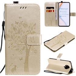 Embossing Butterfly Tree Leather Wallet Case for Xiaomi Redmi K30 Pro - Champagne