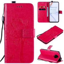 Embossing Butterfly Tree Leather Wallet Case for Xiaomi Redmi K30 Pro - Rose