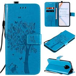 Embossing Butterfly Tree Leather Wallet Case for Xiaomi Redmi K30 Pro - Blue