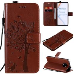 Embossing Butterfly Tree Leather Wallet Case for Xiaomi Redmi K30 Pro - Coffee