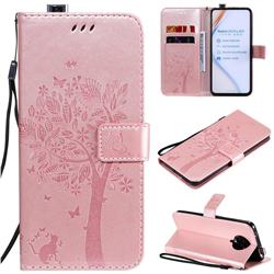 Embossing Butterfly Tree Leather Wallet Case for Xiaomi Redmi K30 Pro - Rose Pink