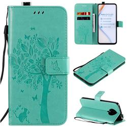 Embossing Butterfly Tree Leather Wallet Case for Xiaomi Redmi K30 Pro - Cyan