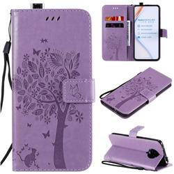 Embossing Butterfly Tree Leather Wallet Case for Xiaomi Redmi K30 Pro - Violet